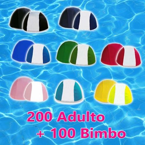 Pacco da 200 Cuffie Adulto + 100 Cuffie Bimbo - Colori Assortiti